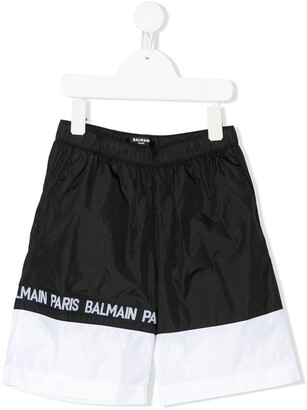 Balmain Kids Bi-Colour Logo Swim Shorts