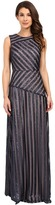 Donna Morgan Gigi Boat Neck Striped Sequin Gown