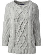 Classic Women's Petite Wool Blend 3/4 Sleeve Aran Sweater-Cherry Jam