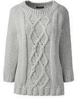 Lands' End Women's Wool Blend 3/4 Sleeve Aran Sweater-Navy Stripe