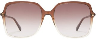Gucci Oversized Square Acetate Sunglasses - Womens - Dark Brown