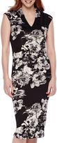 S. L. Fashions SL Fashions Cap-Sleeve Floral Midi Sheath Dress