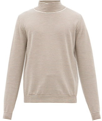 Maison Margiela Striped Roll-neck Wool Sweater - Brown White