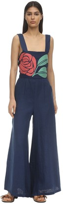 Carolina K. Bow Embroidered Linen Jumpsuit