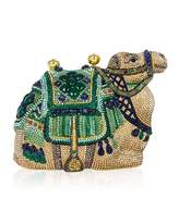 Judith Leiber Couture Sodalite & Green Onyx Crystal Camel Clutch Bag, Champagne Multi