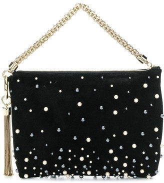 Jimmy Choo Callie pearl-embellished clutch