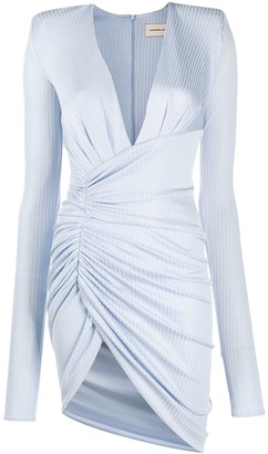 Alexandre Vauthier Plunge-Neck Ruched Mini Dress