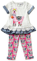 Rare Editions Baby Girls 12-24 Months Llama-Applique Mixed-Media Top & Printed Leggings Set