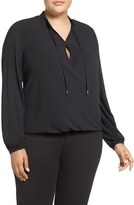 MICHAEL Michael Kors Crossover Woven Front Top (Plus Size)