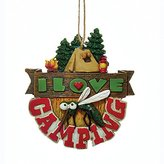 Kurt Adler I Love Camping Mosquito and Tent in Woods with Campfire Christmas Ornament J8348