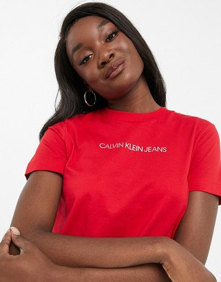 Calvin Klein Jeans short sleeve front logo tee in red
