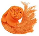 Solid Pure Silk Fringed Long Scarf