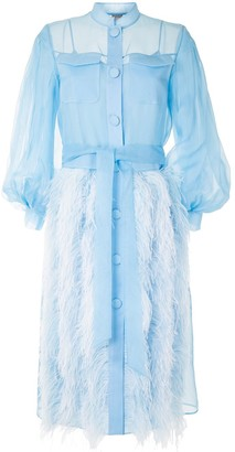 Huishan Zhang Feather-Trimmed Shirt Dress