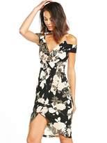 AX Paris Cold Shoulder Printed Wrap Front Dress
