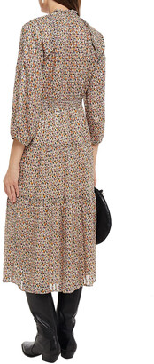 BA&SH Gathered Metallic Jacquard Midi Dress