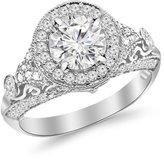 Houston Diamond District 2.8 Carat Round Diamond Engagement Ring Platinum Vintage Halo Style with a 2 Carat Moissanite Center