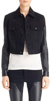 Givenchy Leather Sleeve Crop Denim Jacket