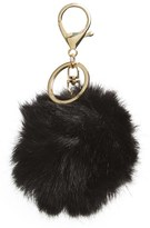 BP Women's Faux Fur Pom Bag Charm - Black