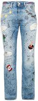 Levi's 501 Blue Doodle Straight Leg Jeans