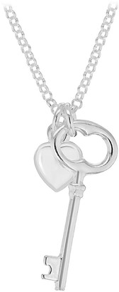 The Love Silver Collection Sterling Silver Heart and Key Charm Pendant Necklace