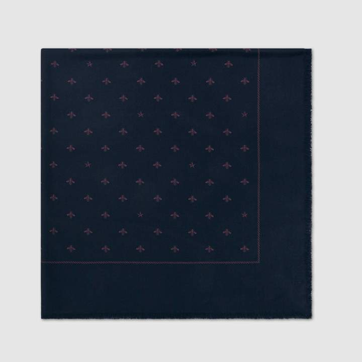 Gucci Wool silk scarf with bees and stars