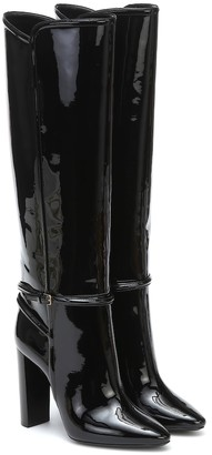 Saint Laurent 76 Patent Leather Knee-High Boots