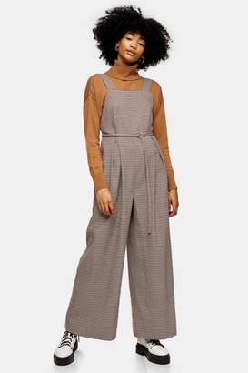 Topshop Mini Check Print Pant Pinafore