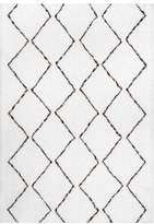 nuLoom Hand-Tufted Geometric Moroccan Shag Rug, Natural, 10'x14'