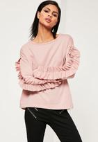 Missguided Pink Insert Frill Sleeve Sweatshirt