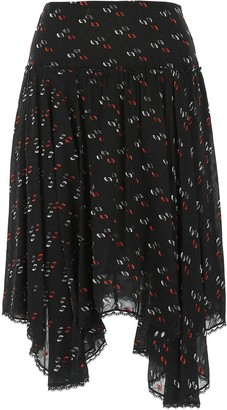 See by Chloe Embroidered Asymmetric Midi Skirt