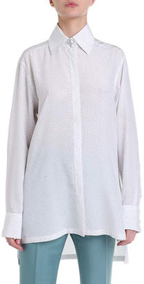 Fendi Long-Sleeve Silk Button-Front Blouse