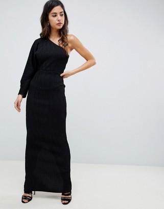 Asos Design DESIGN one sleeve metallic plisse maxi dress-Black
