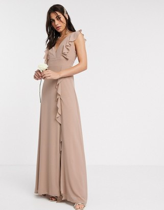 TFNC Bridesmaid ruffle detail maxi dress in mink
