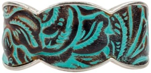 Patricia Nash Silver-Tone Turquoise Leather Cuff Bracelet