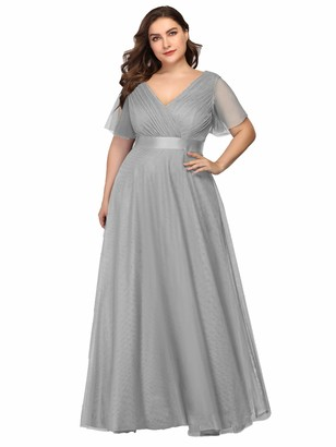 Ever Pretty Ever-Pretty Women's Elegant Double V Neck with Short Flutter Sleeve A Line Empire Waist Long Tulle Plus Size Evening Dresses Blue and Green 14UK