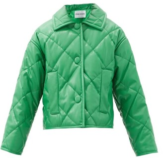 Stand Studio Jacinda Diamond-quilted Faux-leather Jacket - Green