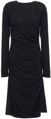 Theory Ruched Ribbed Jersey Midi Dress