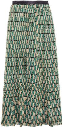 Anna Sui Pleated Printed Silk-crepe Midi Skirt