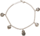 Silvertone Owl Charm Anklet