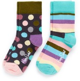 Happy Socks Stripe and polka dot kids socks 2-pair pack
