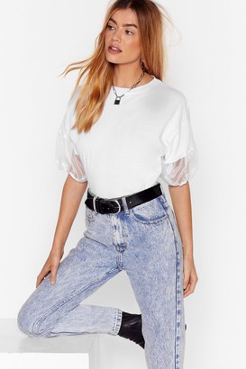 Nasty Gal Womens Organza Oversized Puff Sleeve T-shirt - White