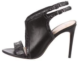 Alexandre Birman Crocodile-Trimmed Cutout Sandals