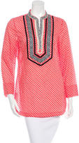 Tory Burch Embroidered Abstract Print Blouse