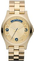 Marc Jacobs MBM3162 Women's Gold Tone Stainless Steel Bracelet Gold Dial Blue Accents Watch