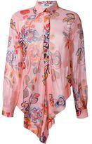 MSGM asymmetric floral print shirt - women - Silk/Polyester - 46
