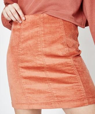 MinkPink Uncut Cord Mini Skirt Peach