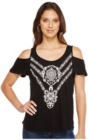 Lucky Brand Embroidered Cold Shoulder Top Women's Clothing