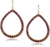 Yochi Colored Crystal Embellished 14k Gold-Plated Hoop Earrings