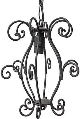 One Kings Lane Vintage Curly Iron Lantern Fixture - Fleur de Lex Antiques - black