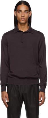 Ermenegildo Zegna Purple Cashmere Long Sleeve Polo